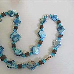 Ladies Necklace Blue Stones 22 inches long